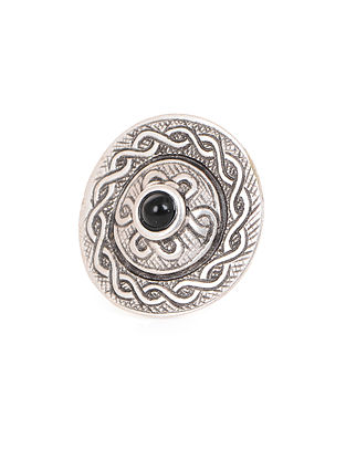 Black Silver Tone Adjustable Tribal Ring