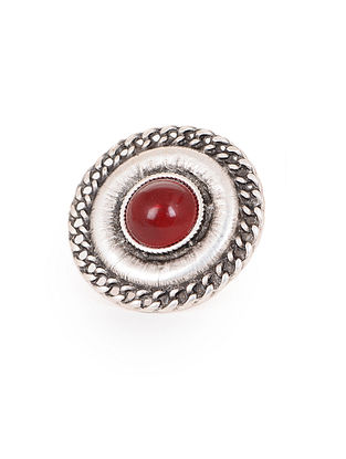 Red Silver Tone Adjustable Tribal Ring