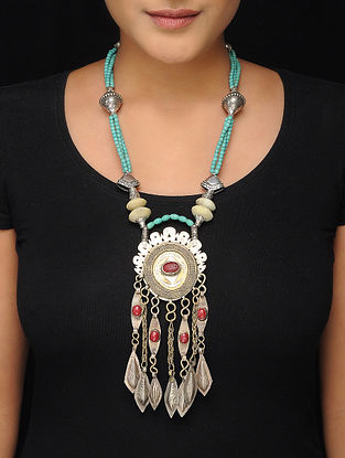 Turquoise-Red Brass Beaded Tribal Necklace