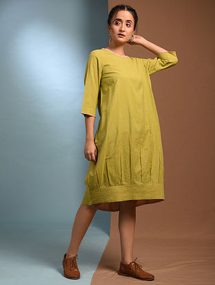 KADAMBA - Green Handloom Cotton Kantha Embroidered Dress
