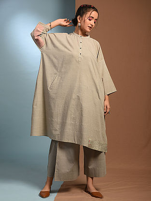 KAASH - Grey Handloom Cotton Kantha and Patch Work Freesize Kurta