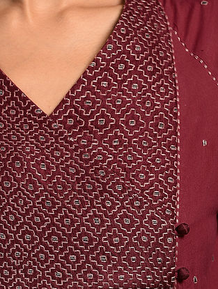 SHIULI - Red Handloom Cotton Kurta with Kantha Embroidery