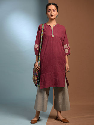 AKANDA - Red Handloom Cotton Kurta with Kantha and Patch Work