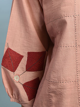 KUMROR PHOOL - Pink Handloom Cotton Kurta with Kantha and Patch Work