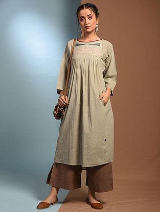 JOBA - Grey Handloom Cotton Kurta with Kantha and Patch Work
