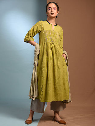 JAMRUL - Green Handloom Cotton Kurta with Kantha Embroidery