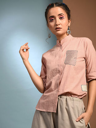 FOLSA - Pink Handloom Cotton Shirt with Patch work