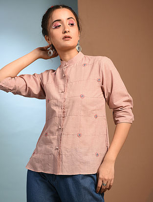 PARUL - Pink Handloom Cotton Shirt with Kantha and Patch work