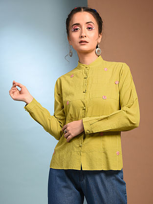 SHOSHA - Green Handloom Cotton Shirt with Kantha and Patch work
