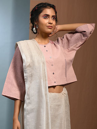 Pink Handloom Cotton Kantha EmbroidePink Blouse