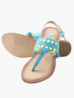 Turquoise Green Handcrafted Leather Sandals with Pom Poms