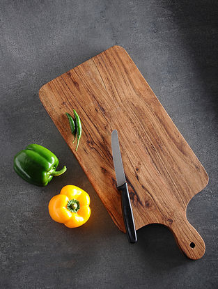 Brown Cocktail Handcrafted Acacia Wood Cheese Board (L:16.7in, W:7.6in, H:0.5in)