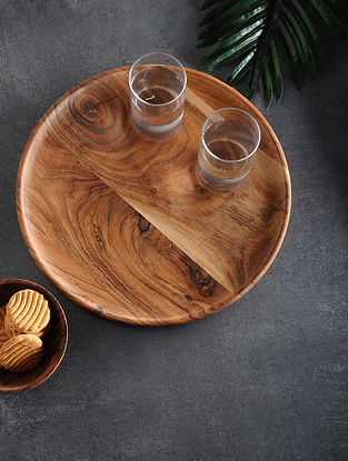 Brown Handcrafted Acacia Wood Platter (L:13.3in, W:13.3in, H:0.5in)