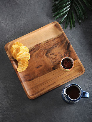 Brown Handcrafted Acacia Wood Platter (L:11in, W:11in, H:0.5in)