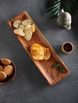 Brown Handcrafted Acacia Wood Platter (L:16.7in, W:5in, H:0.5in)