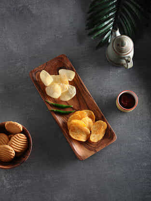 Brown Handcrafted Acacia Wood Platter (L:12in, W:5in, H:0.6in)