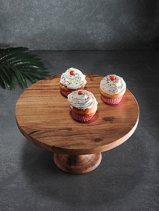 Brown Handcrafted Acacia Wood Cake stand (L:12in, W:12in, H:6.5in)