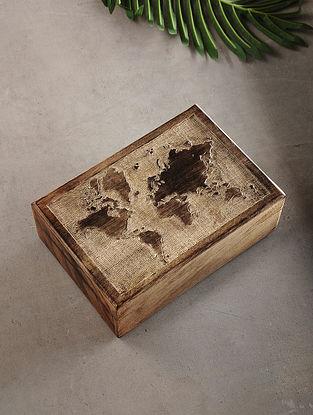 World Map Mango Wood Multipurpose Box (L:6.6in, W:9.6in, H:3.2in)
