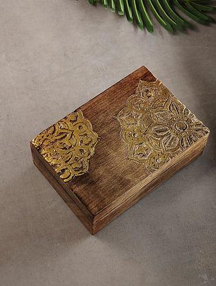 Mandala Mango Wood Multipurpose Box with Golden Foil (L:6.7in, W:10in, H:3.2in)