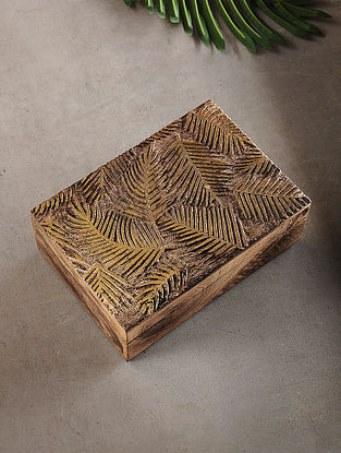 Palm Leaves Mango Wood Multipurpose Box with Golden Foil (L:6.7in, W:10in, H:3.2in)