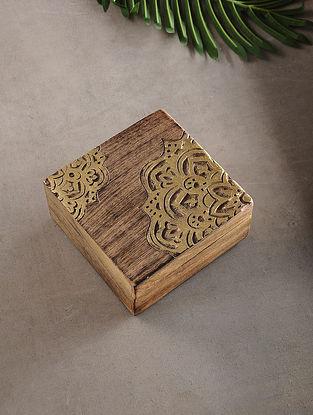 Mandala Mango Wood Multipurpose Box with Golden Foil (L:6.6in, W:6.6in, H:3.1in)