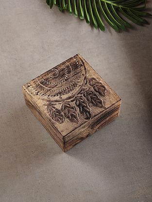 Half Dream Catcher Mango Wood Multipurpose Box (L:6.6in, W:6.6in, H:3.2in)