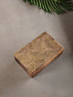 Palm Leaves Mango Wood Multipurpose Box with Golden Foil (L:5.3in, W:8.3in, H:2.2in)