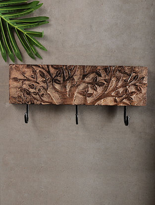 Tree of Life Brown Handcrafted Mango Wood and Iron key hook (6.2in x 14.6in)
