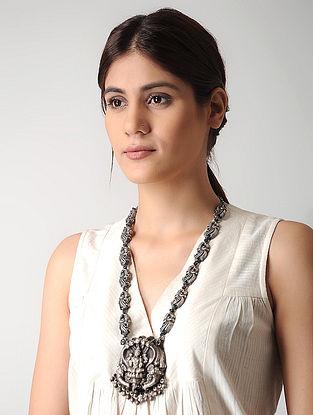 Tribal Silver Necklace with Goddess Lakshmi Motif