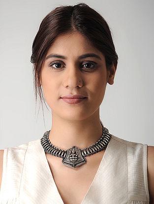 Pink Tribal Silver Necklace with Goddess Lakshmi Motif