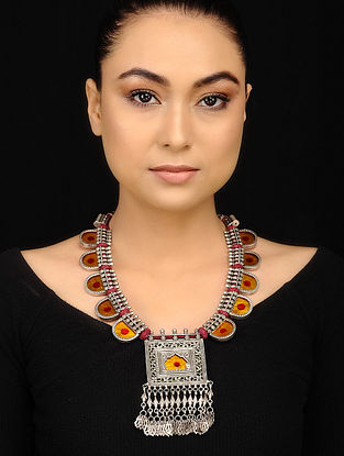 Yellow Red Glass Tribal Necklace
