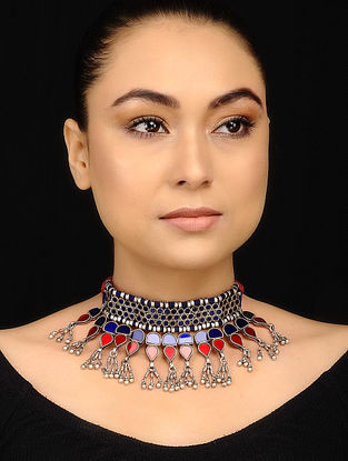 Blue Red Glass Tribal Silver Necklace