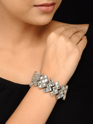 Glass Tribal Silver Bracelet