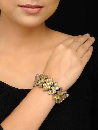Yellow Glass Tribal Silver Bracelet