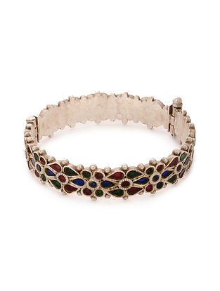 Multicolored Glass Tribal Silver Bangle (Bangle Size: 2/4)