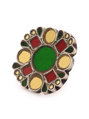 Red Green Glass Tribal Silver Adjustable Ring
