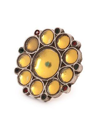Yellow Glass Tribal Silver Adjustable Ring