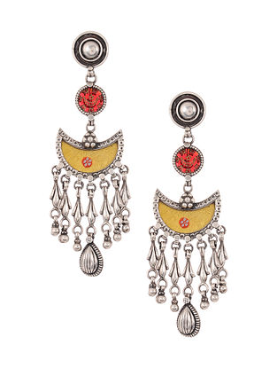 Yellow Red Glass Tribal Silver Earrings