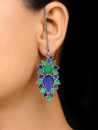 Green Blue Glass Tribal Silver Earrings