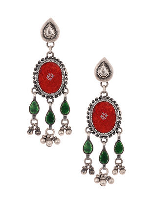 Red Green Glass Tribal Silver Earrings