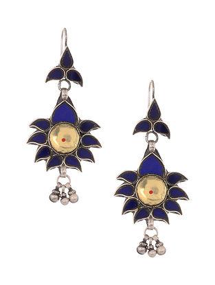 Blue Yellow Glass Tribal Silver Earrings