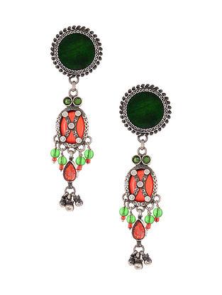 Red Green Glass Tribal Silver Earrings