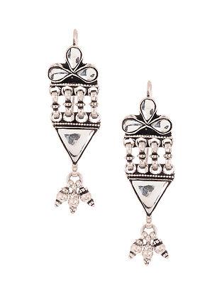 Glass Tribal Silver Earrings