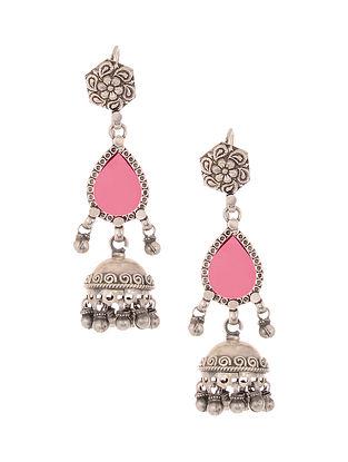Pink Glass Tribal Silver Jhumki Earrings