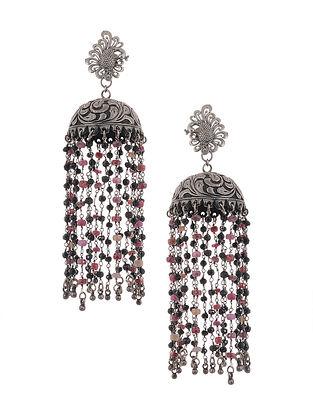 Pink Black Tribal Silver Jhumki Earrings with Peacock Design