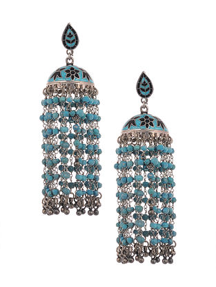 Blue Black Enameled Tribal Silver Jhumki Earrings