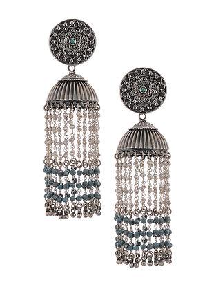Blue Tribal Silver Jhumki Earrings