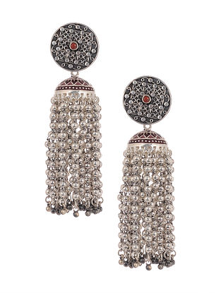 Red Tribal Silver Jhumki Earrings