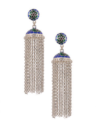 Blue Green Enameled Tribal Silver Jhumki Earrings