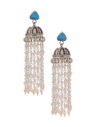 Turquoise Tribal Silver Jhumki Earrings with Pearls